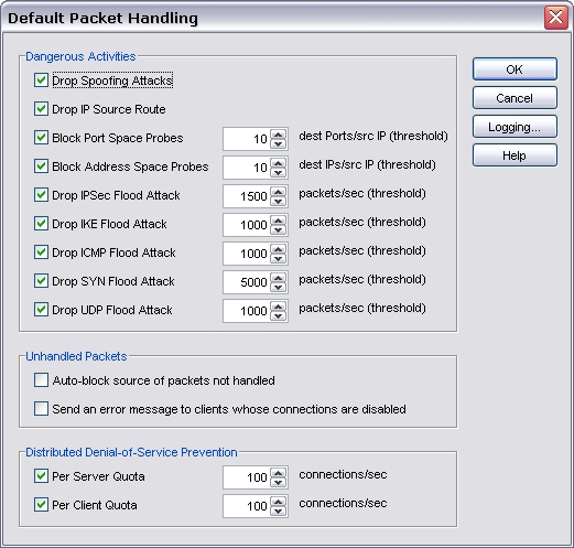 screenshot of Default Packet Handling dialog box