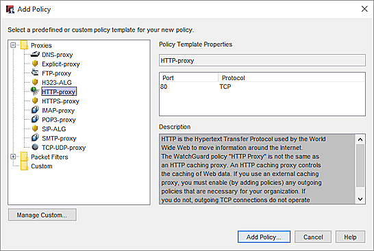 screen shot of the add policy dialog box in policy manager