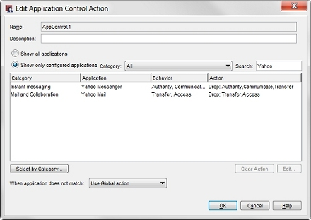 screen shot of the edit application control action dialog box