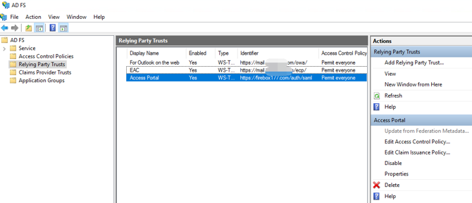 Microsoft ADFS SAML Authentication to Exchange Integration