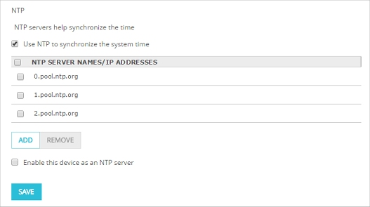 Enable NTP and Configure NTP Servers