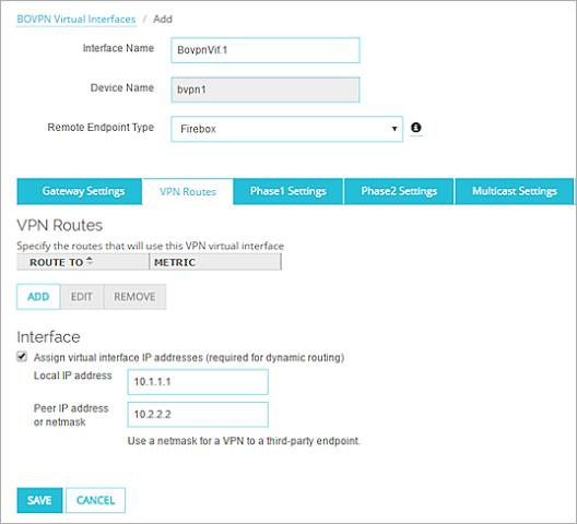 BOVPN Virtual Interface with Dynamic Routing