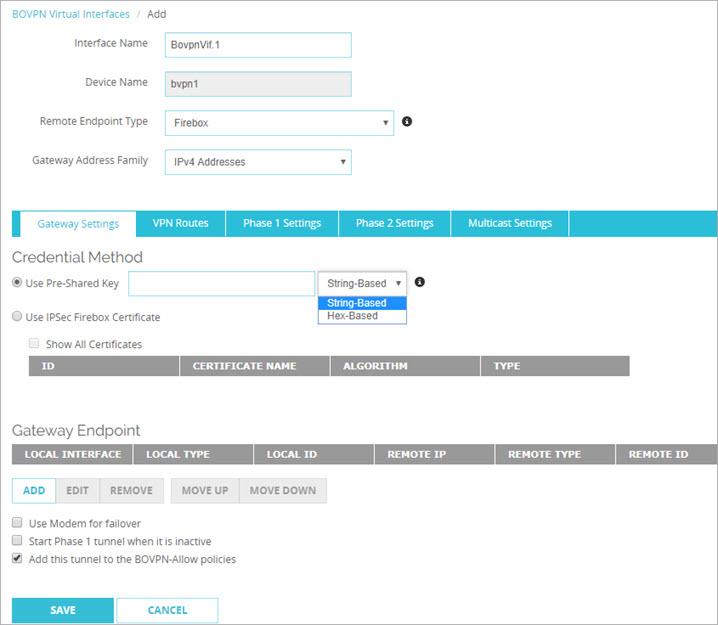 Configure a BOVPN Virtual Interface