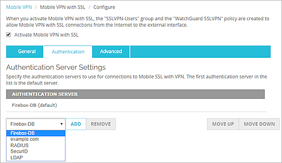 Manually Configure the Firebox for Mobile VPN with SSL