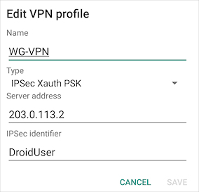 Use Mobile VPN with IPSec with an Android Device