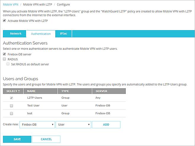 Edit the Mobile VPN with L2TP Configuration