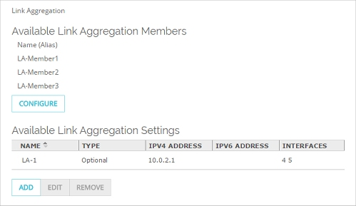 Configure Link Aggregation
