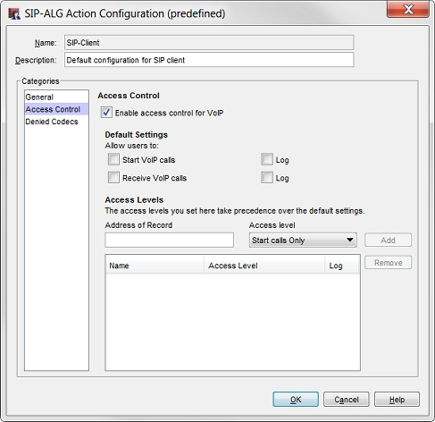 SIP-ALG: Access Control