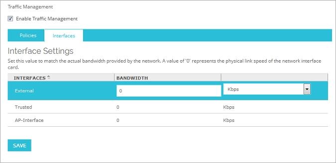 Set Outgoing Interface Bandwidth