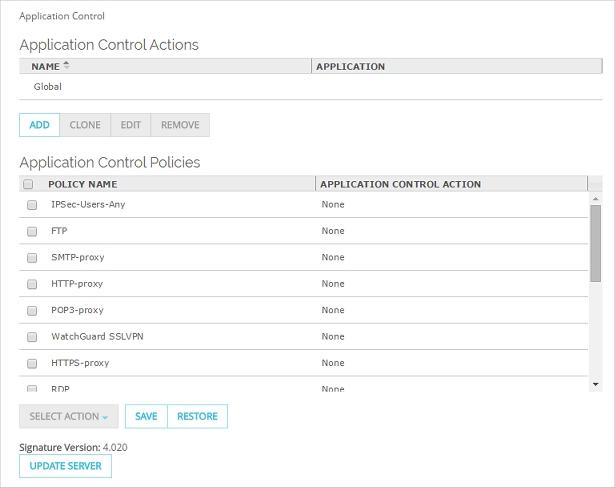 Configure Application Control Actions