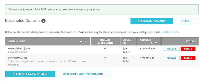 Manage DNSWatch Blacklisted Domains