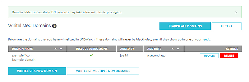 Manage DNSWatch Whitelisted Domains