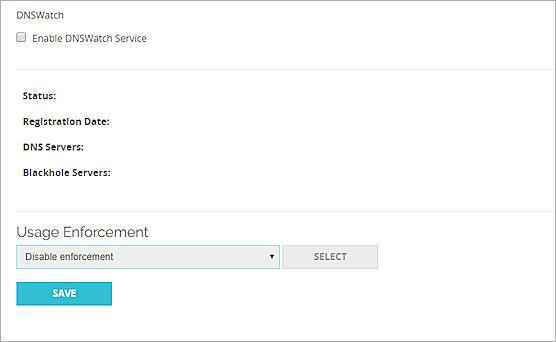 Screen shot of the DNSWatch settings in Fireware Web UI