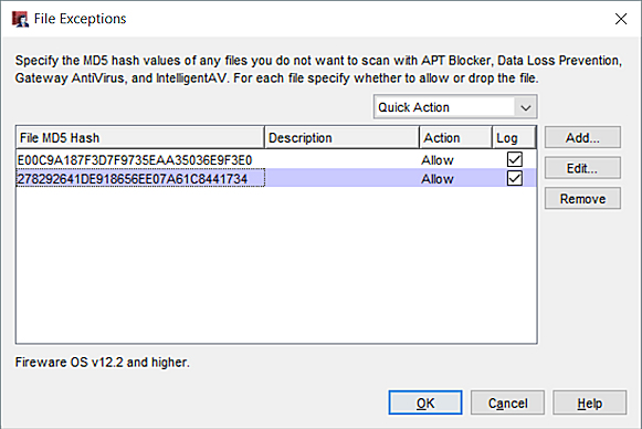 Configure File Exceptions