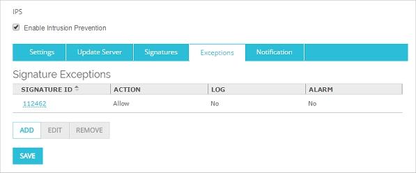 Configure IPS Exceptions