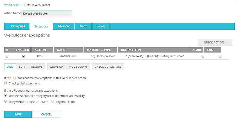 Configure WebBlocker Exceptions