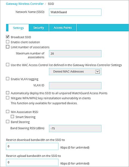 Configure WatchGuard AP SSIDs