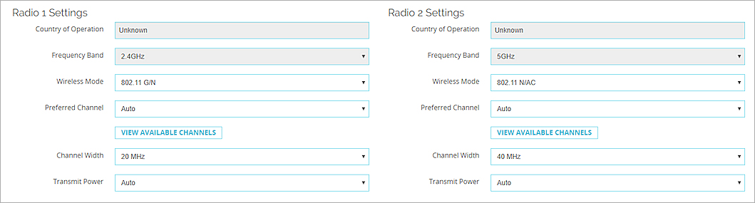 Configure AP Radio Settings