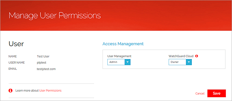 Manage User Accounts in the WatchGuard Portal