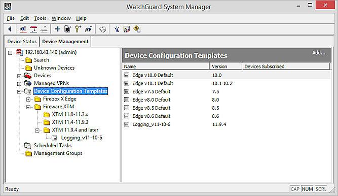 Capturarea ecranului Șabloane de configurare a dispozitivului WSM