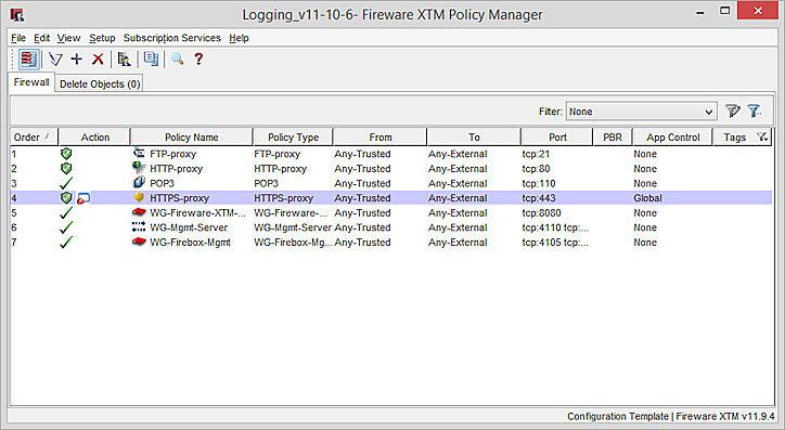 Aplicació de la plantilla de configuració de l'Policy Manager d'Fireware XTM