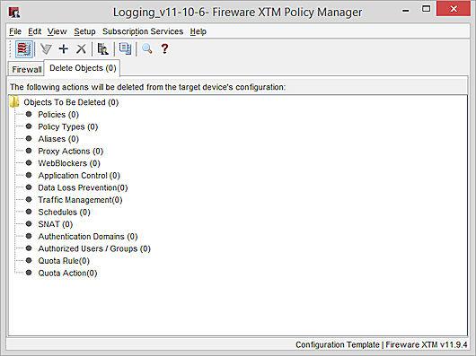 Captura de la plantilla de configuració de Policy Manager, pestanya Objectes Eliminats