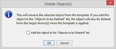 Capturarea ecranului de dialog de ștergere a obiectului