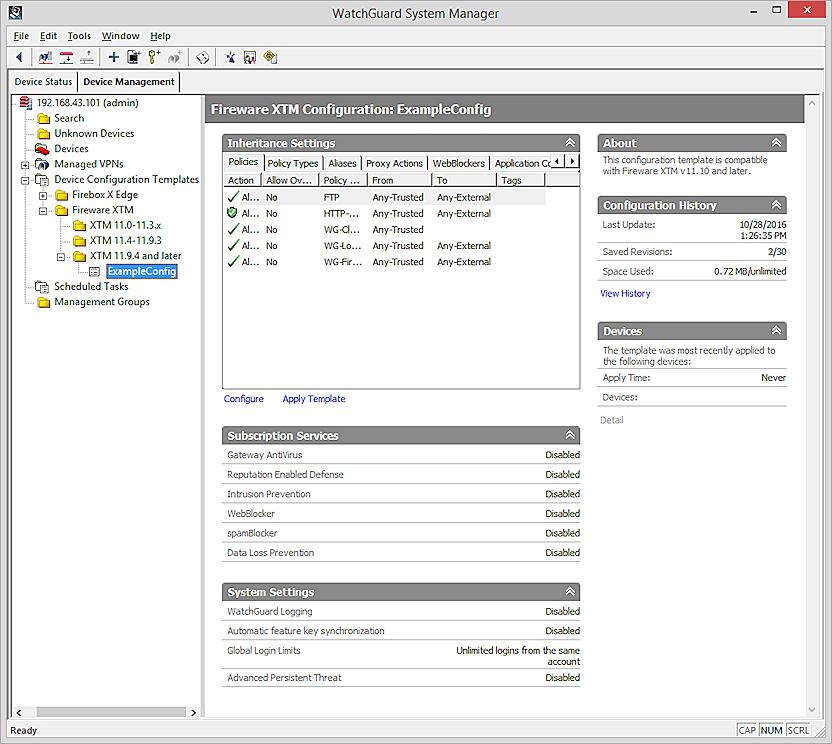 Captura de la pàgina Configuracions de Plantilles