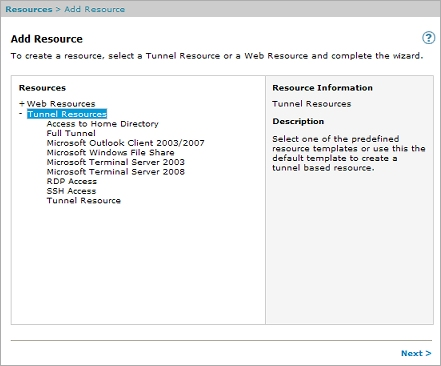 Add a Tunnel Resource for RDP Access
