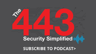 The 443 - Security Simplified Podcast icon with 'Subscribe to Podcast' text under it