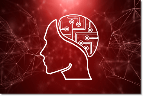 IntelligentAV icon of a white face with a circuit board brain