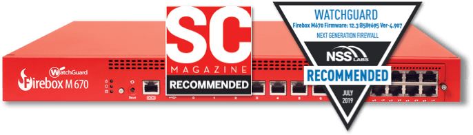 Red WatchGuard Firebox with SC Magazine Recommended logo and NSS Labs Recommended logo on top