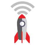 Illustration: Rocket with a Wi-Fi symbol coming out of the nose
