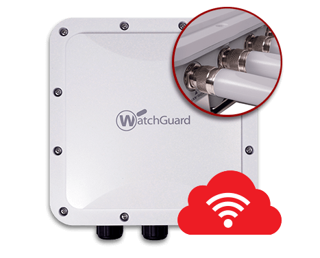 WatchGuard AP327X Product Photo with inset circle showing external antennas