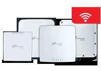 Imagem: dispositivos do WatchGuard Access Point enfileirados com um ícone de Wi-Fi branco em uma nuvem vermelha no topo em