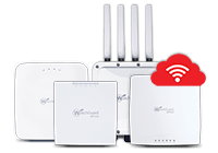 Image: WatchGuard Access Point appliances in a row with a white wi-fi icon on a red cloud over the top in