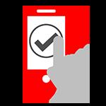 Mobiltelefon mit grauem Häkchen auf dem Bildschirm und einer Hand, die das Häkchen antippt