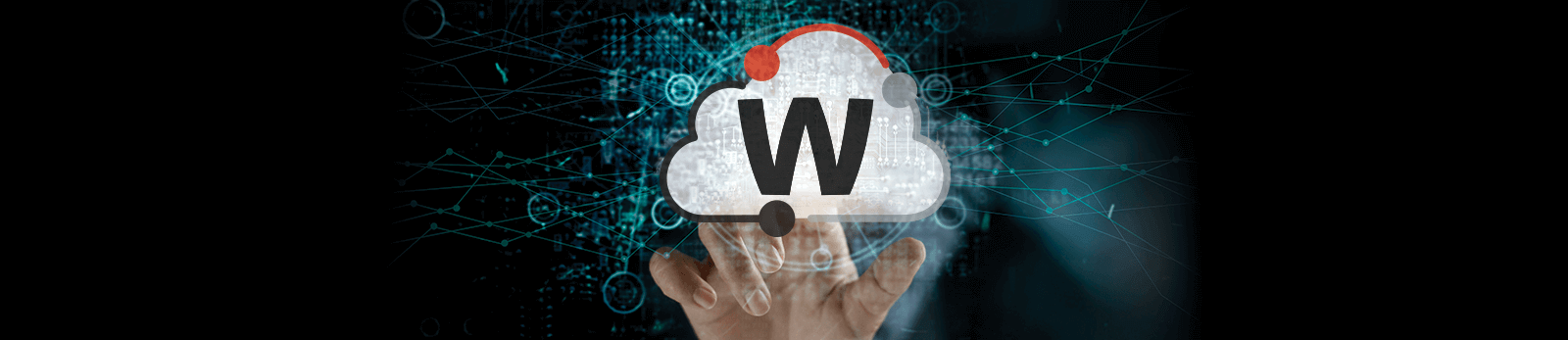 Glowing WatchGuard Cloud icon with a hand reaching up to touch it