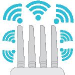 Drawing of 4 external antennas with blue wi-fi symbols around them