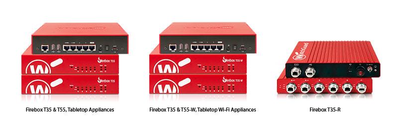Fotos dos modelos WatchGuard Firebox T35 e Firebox T55