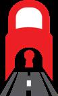 Ilustração: Túnel ferroviário feito de um cadeado