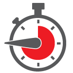 Stop watch with red and gray dial
