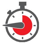 Stoppuhr mit rotem und grauem Ziffernblatt