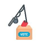 Illustrazione: una canna da pesca che si immerge in un'urna elettorale