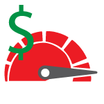 Illustration: Dollar sign over a speedometer