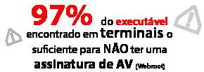 97% do malware executável encontrado em terminais foi o suficiente para não ter uma assinatura de AV (Webroot)