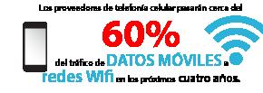 Los proveedores de telefonía celular pasarán cerca del 60% del tráfico de datos móviles a redes Wifi en los próximos cuatro años.