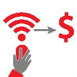 Illustration: Hand auf einer Maus mit Wi-Fi Symbol und Dollarzeichen