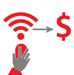 Gray hand on a red mouse with a red wi-fi symbol coming out of it and a gray arrow pointing at a dollar sign