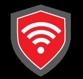 Bouclier rouge avec symbole Wi-Fi blanc